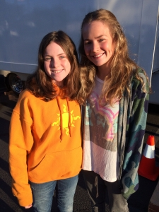 Day 1 of filming & my girl meets the incredible star of my movie, Britt Robertson